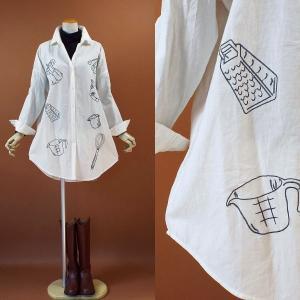 新作 ワンピ キッチン グッズ 刺繍 長袖 シャツ 228a|visage-souriant1208