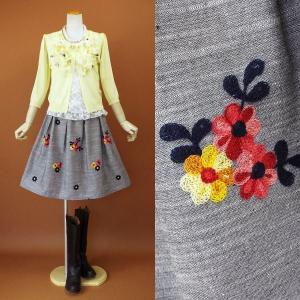 2017 春夏 新作スカート 刺繍 フレアー スカート オーガンジー フラワー 306g|visage-souriant1208