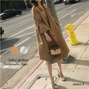 トレンチコート レディース フレアー 袖 ベルト 40代 50代 ロング 大きいサイズ  s1213|visage-souriant1208