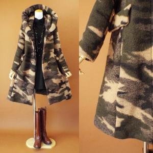 アウター コート 迷彩 イタリア製 パーカー レディース ウール 長袖 40代 50代 s2017|visage-souriant1208