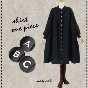 ワンピース アルファベット 刺繍 バルーン シャツ 40代 50代 s2201 visage-souriant1208