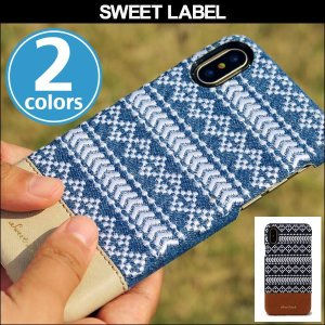 iPhone X 用 SWEET LABEL Folklore Single for iPhone X デニム素材 フラップ無しのシングルタイプ|visavis