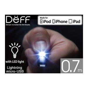 Lightningコネクタ & Micro USB Super Tangle-Free Flat Design Cable with LED Light(0.7m)|visavis