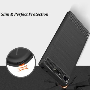 Xperia XZ1 Compact SO-02K 用  Cruzerlite Carbon Fiber Shock Absorption Slim Cover for Xperia XZ1 Compact SO-02K /代引き不可/ カーボン模様|visavis|06