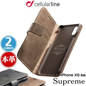 iPhone XS 用 ケース cellularline Supreme 本革手帳型ケース for iPhone XS / アイフォンXS アイフォンテンエス iPhoneXS|visavis