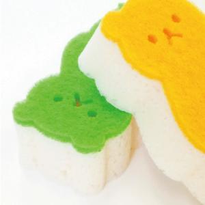 お風呂洗い クマバススポンジ(オレンジ・グリーン)セット 10003548:set-c|vita-spugna