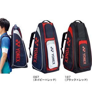 - (097)ネイビー×レッド (187)ブラック×レッド 鞄 テニスバッグ ラケットバッグ スポー...