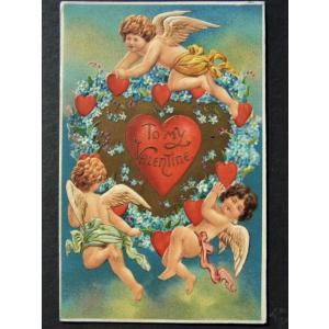 アンティークポストカード、勿忘草のハート、3人の天使たち バレンタイン