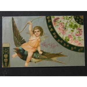 アンティークポストカード、ツバメとキューピッド 天使 True Love