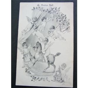 アンティークポストカード、フランス 7人の天使たち おもちゃ クリスマス モノクロ