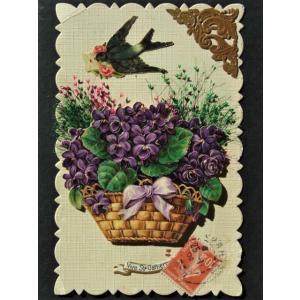 アンティークポストカード  フランス ツバメ&スミレのバスケット クロモスと植物