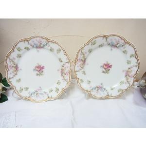 フランス、リモージュ Haviland(アビラント)窯の直径約16cmのお皿2枚になります。花弁のよ...