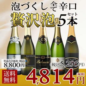 ワインセット スパークリングワイン 5本セット 泡 5本セット 辛口 微発泡入 送料無料 北海道 沖縄除く