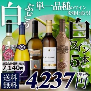 白ブドウ単一品種のワインを味わおう! 白バラエティ 5本セット C