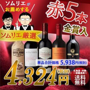 ワイン ワインセット ソムリエおすすめ 赤ワインバラエティ5...