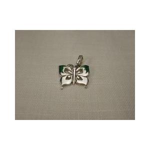ペンダントトップ イタリア製シルバー925アクセサリートップ 七宝のグリーン蝶|vivace-yokohama