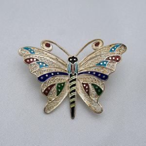 ポルトガル製 銀線細工ブローチ 七宝とシルバーの蝶|vivace-yokohama
