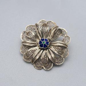 ポルトガル製 銀線細工ブローチ 七宝とシルバーの2重花|vivace-yokohama