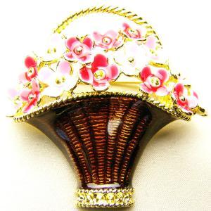 バスケットに入れた花七宝ブローチ 赤とピンク |vivace-yokohama