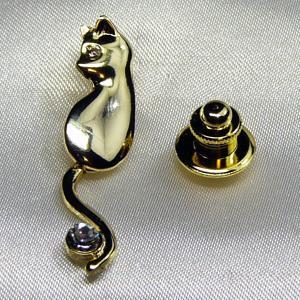 タックピンブローチ 動く猫の尻尾 ゴールド&ダイヤモンド|vivace-yokohama