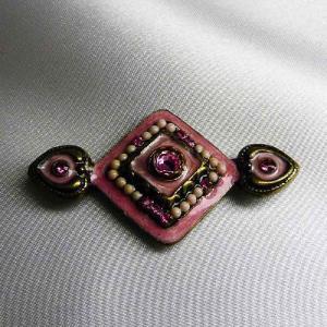 ブローチ フランス製アンティック輸入アクセサリー アンティークゴールド ピンク|vivace-yokohama