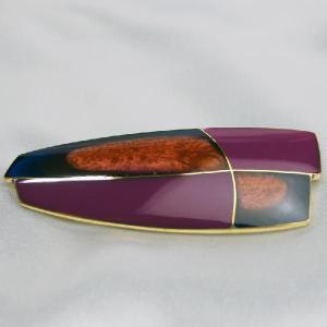 ブローチ フランス製アクセサリー 七宝ブローチ 片流れ 紫|vivace-yokohama