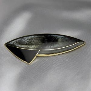 ブローチ フランス製アクセサリー 七宝ブローチ 宇宙船 グレー|vivace-yokohama