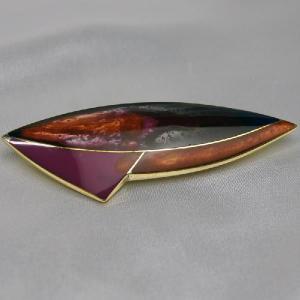 ブローチ フランス製アクセサリー 七宝ブローチ 宇宙船 紫|vivace-yokohama