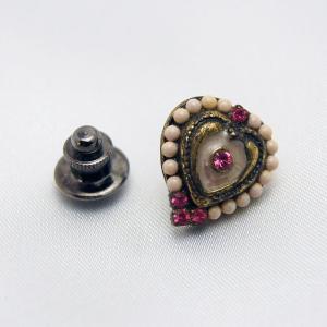 フランス製アクセサリー アンティックゴールド タックピン アイボリー&ピンク|vivace-yokohama