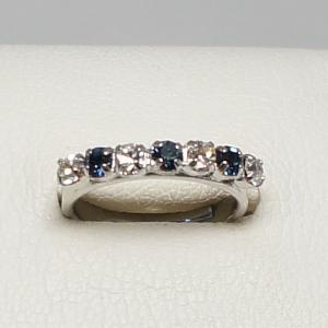 デザインリング フリーサイズ ドイツ製 スワロフスキー 一文字 カラー:サファイア&ダイヤモンド|vivace-yokohama