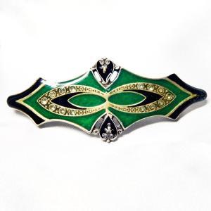 髪留め  イタリア製 西洋七宝 ダイヤ グリーン|vivace-yokohama