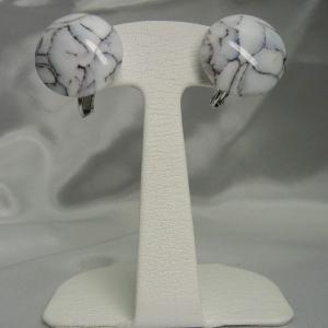 イヤリング  イタリア製  ベネチアングラス  ボタン クラック入り 白|vivace-yokohama