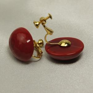 ベネチアングラスのクリップイヤリング赤 イタリア製アクセサリー|vivace-yokohama