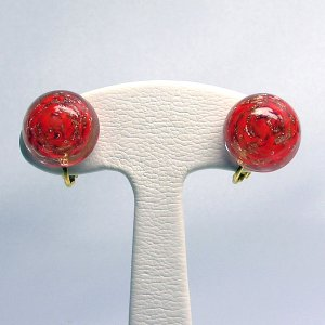 イヤリング  イタリア製  ベネチアングラス  ソメルソビーズ 赤 小|vivace-yokohama