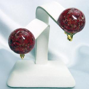 イヤリング  イタリア製  ベネチアングラス  赤 大|vivace-yokohama