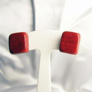イヤリング イタリア製 ベネチアングラス 角 赤|vivace-yokohama