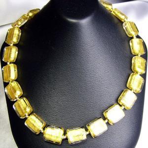 ネックレス イタリア製ベネチアングラス 角 糸結び ゴールド |vivace-yokohama
