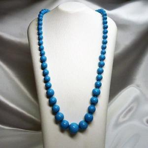 ネックレス イタリア製ベネチアングラス ロング 糸結び 青|vivace-yokohama