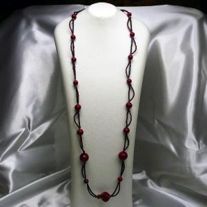 ネックレス イタリア製ベネチアングラス ロング ウエーブ 赤・黒|vivace-yokohama
