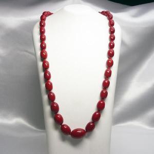 ネックレス イタリア製ベネチアングラス ロング 糸結び 赤 |vivace-yokohama