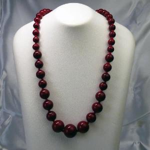 ネックレス イタリア製ベネチアングラス 糸結び  45cm 赤|vivace-yokohama