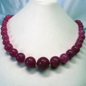 ネックレス イタリア製ベネチアングラス 丸 糸結び ピンク |vivace-yokohama