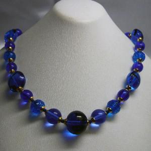 ネックレス イタリア製ベネチアングラス 糸結び 45cm ブルー|vivace-yokohama