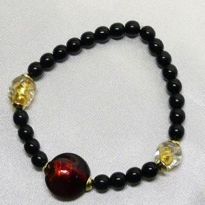ブレスレット  イタリア製 ベネチアングラス 金箔入り 赤|vivace-yokohama