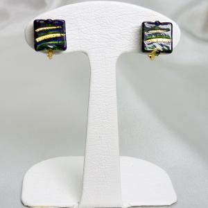 イヤリング イタリア製 ベネチアングラス k24箔入り 四角小 緑・紺|vivace-yokohama