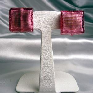 イヤリング イタリア製 ベネチアングラス 角 ロゼ|vivace-yokohama