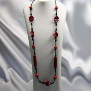 ネックレス イタリア製ベネチアングラス ロング 赤いろいろビーズ |vivace-yokohama