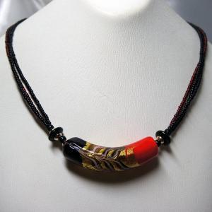 ネックレス イタリア製 ベネチアングラス チューブ大 3連 ネックレス 赤|vivace-yokohama