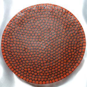ベネチアングラス 皿 (大) ミルフィオーリ (赤黒) イタリア製 モレッティ社|vivace-yokohama