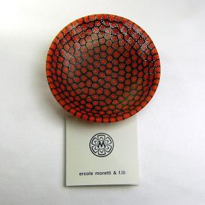 ベネチアングラス 皿 (中) ミルフィオーリ (赤黒) イタリア製 モレッティ社|vivace-yokohama